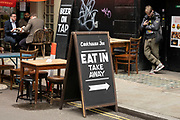 Eat in or takeaway restaurant in Soho on 25th May 2021 in London, United Kingdom. As the coronavirus lockdown continues its process of easing restrictions, more and more people are coming to the West End as more businesses open.