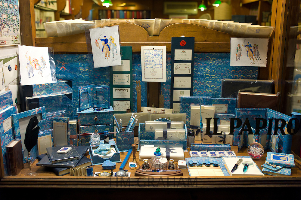 Il Papiro shop selling pens, paper and stationery items in  Siena, Italy.
