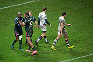 Djibril Camara (Stade Francais) scored a try, celebration with Marvin O Connor (Stade Francais Paris) and Waisea Nayacalevu Vuidravuwalu (Stade Francais), Baptiste Serin (Union Bordeaux-Begles), Nans Ducuing (Union Bordeaux-Begles) during the French championship Top 14 Rugby Union match between Stade Francais Paris and Union Bordeaux-Begles on December 30, 2017 at Jean Bouin stadium in Paris, France - Photo Stephane Allaman / ProSportsImages / DPPI