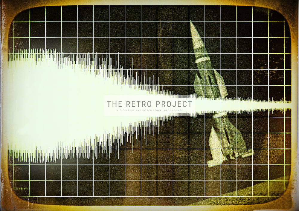 Top Secret Millitary Missile Launch Monitor Retro Photo illustration with grid and surround