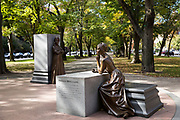 Statue of Phillis Wheatley, sold as a slave, is part of Boston Women's Memorial in Commonwealth Avenue Mall, Boston, USA