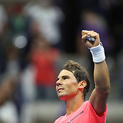 2017 U.S. Open Tennis Tournament - DAY TWO. Rafael Nadalof Spain celebrates his victory against DusanLajovic of Serbia during the Men's Singles round one match at the US Open Tennis Tournament at the USTA Billie Jean King National Tennis Center on August 29, 2017 in Flushing, Queens, New York City.  (Photo by Tim Clayton/Corbis via Getty Images)