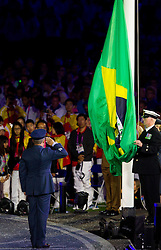 The Brazillian flag is raised by a them of the Ministry of Defence during the closing ceremony of the London 2012 Paralympic Games on September 9, 2012, in Olympics stadium, Stratford, London, Great Britain. (Photo by Vid Ponikvar / Sportida.com)