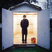 M. Ward at home in Portland, Oregon. I set this shot up in his backyard shed and he played along with the concept.