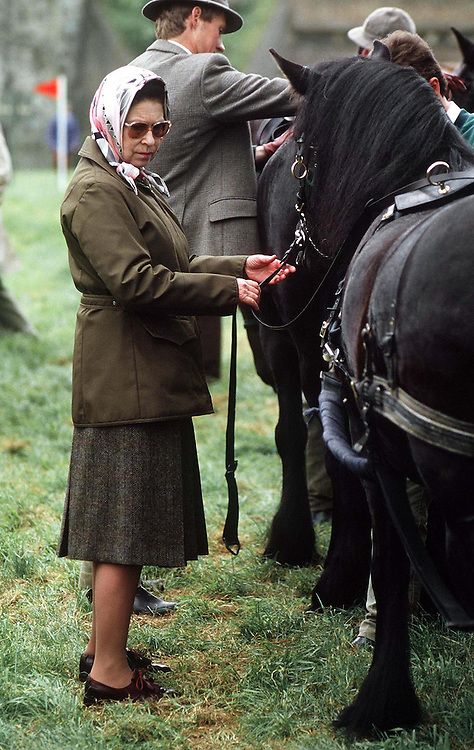 The Queen helps with one of Prince Philip's horses at the Royal Windsor Horse Show in May 1989. Photograph by Jayne Fincher