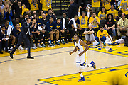 Utah Jazz head coach Quin Snyder calls for a timeout after Golden State Warriors forward Kevin Durant (35) dunks the ball during Game 1 of the Western Conference Semifinals at Oracle Arena in Oakland, Calif., on May 2, 2017. (Stan Olszewski/Special to S.F. Examiner)