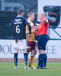 Motherwell's Henrik Ojamaa sent off by Ref Stephen Finnie. <br /> Dundee 4 v 1 Motherwell, SPFL Premiership played 10/1/2015 at Dundee's home ground Dens Park.