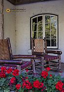 Lounge chairs at Lake McDonald Lodge in Glacier National Park, Montana, USA