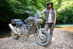 Danger Dan Hardick and his 1-week old Chemical Candy Randy flamed Harley-Davidson Pan-America adventure bike at the Tennessee Motorcycles and Music Revival at Loretta Lynn's Ranch. Hurricane Mills, TN, USA. May 23, 2021. Photography ©2021 Michael Lichter.