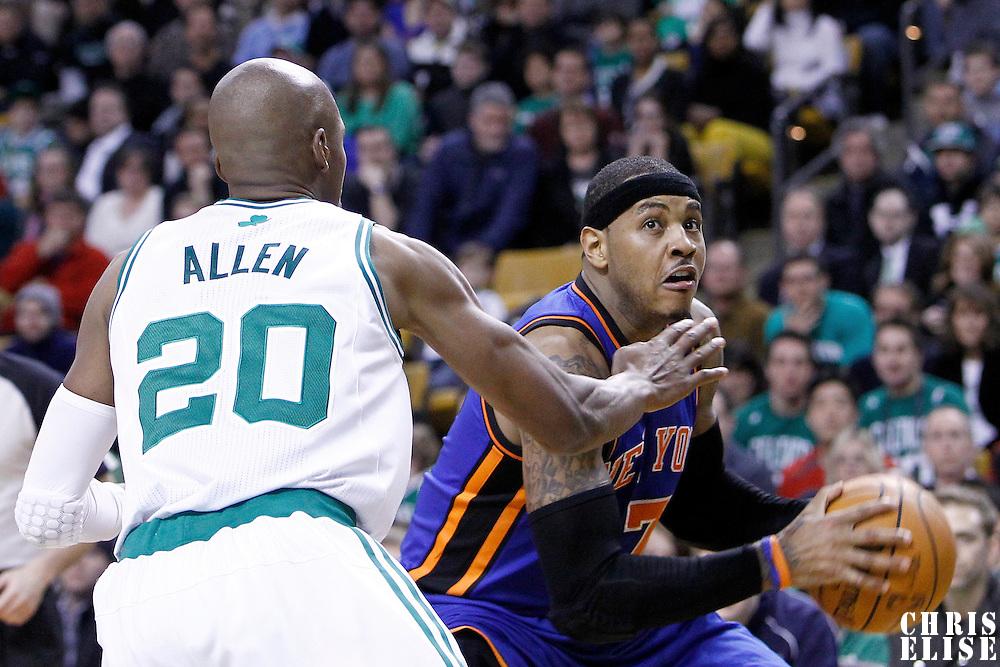 04 March 2012: New York Knicks small forward Carmelo Anthony (7) drives past Boston Celtics shooting guard Ray Allen (20) during the Boston Celtics 115-111 (OT) victory over the New York Knicks at the TD Garden, Boston, Massachusetts, USA.
