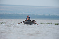 Portrait of local people on the lake Belau in Moldova