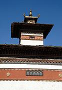 Roof on one of the five chortens near the Nyamai Zam bridge.  Paro, Druk Yul, Bhutan. 12 November 2007.