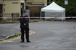 © Licensed to London News Pictures. 15/07/2019. London UK: Police officers on scene in Burford close, east London where a teenager was stabbed to death following a fight nearby. Emergency services tried to save him but he was pronounced dead at around 7.30 pm on tuesday evening  , Photo credit: Steve Poston/LNP