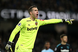 """West Ham United goalkeeper Adrian during the Premier League match at the Etihad Stadium, Manchester. PRESS ASSOCIATION Photo. Picture date: Sunday December 3, 2017. See PA story SOCCER Man City. Photo credit should read: Martin Rickett/PA Wire. RESTRICTIONS: EDITORIAL USE ONLY No use with unauthorised audio, video, data, fixture lists, club/league logos or """"live"""" services. Online in-match use limited to 75 images, no video emulation. No use in betting, games or single club/league/player publications."""