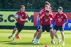 CARDIFF, WALES - Tuesday, September 7, 2021: Wales' Brennan Johnson (L) during a training session at the Vale Resort ahead of the FIFA World Cup Qatar 2022 Qualifying Group E match between Wales and Estonia. (Pic by David Rawcliffe/Propaganda)