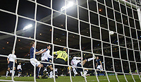 Photo: Andrew Unwin.<br />Scotland v USA. International Challenge. 12/11/2005.<br />The USA's Benjamin Olsen (#15) clears the ball off the line to deny Scotland their winner.