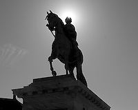 Equestrian statue of Frederik V (Friderico Quinto Clementi Pacifico) by the French sculptor Jacques-François-Joseph Saly in the Frederiksstaden Square in Copenhagen, Denmark. Image taken with a Leica X2 camera (ISO 100, 24 mm, f/16, 1/250 sec). In camera conversion to B&W. Semester at Sea Spring 2013 Enrichment Voyage.