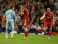 Photo: Paul Greenwood.<br />Liverpool v Marseille. UEFA Champions League, Group A. 03/10/2007.<br />Liverpool's Steven Gerrard reacts to his yellow card