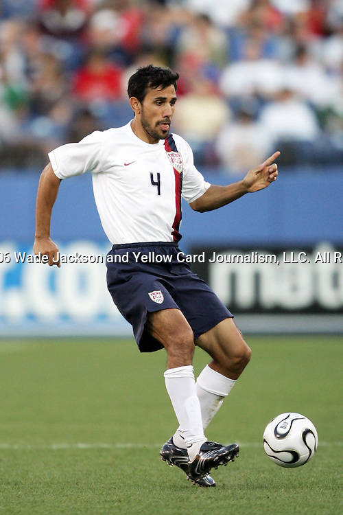 23 May 2006,  Pablo Mastroeni (USA) dribbles with the ball.  The USA Mens National soccer team was defeated by Morocco by a score of 0-1 in an international friendly match at The Coliseum in Nashville, Tennessee as they prepare for competition at World Cup 2006 in Germany.