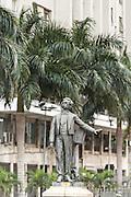 Statue of musician Antonio Carlos Gomes outside the Municipal Theatre on Cinelandia Square in Rio de Janeiro, Brazil.