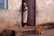 Woman and dog in Gibara,Holguin,Cuba.