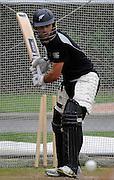 Dean Brownlie looks to smash the ball, Black Caps Training Session, at the University oval, Dunedin, New Zealand. Thursday 2 February 2012 . Photo: Richard Hood photosport.co.nz