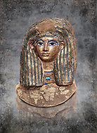Ancient Egyptian cartonnage funerary mask of Merit - tomb of Kha, Theban Tomb 8 , mid-18th dynasty (1550 to 1292 BC), Turin Egyptian Museum.  <br /> <br /> this exquisite guilded catonnage was placed over the head of the mummy of Merit.