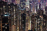 A night view into Hong Kong from Victoria Peak. Hong Kong is one of the most densely populated areas on the planet.