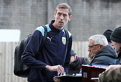 Burnley's Peter Crouch meets fans outside the ground before the Premier League match at Turf Moor, Burnley.