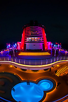 "Beautiful lighting on the top deck of the Art Deco styled cruise ship ""Disney Dream"", Disney Cruise Line, sailing from Florida to the Bahamas"