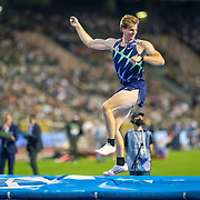 BRUSSELS, BELGIUM:  September 3:   Christopher Nilsen of the United States celebrates a clearance during his second place finish in the pole vault for men competition during the Wanda Diamond League 2021 Memorial Van Damme Athletics competition at King Baudouin Stadium on September 3, 2021 in  Brussels, Belgium. (Photo by Tim Clayton/Corbis via Getty Images)