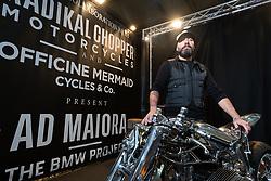 Radikal Choppers' customizer Andrea Radaelli of Italy with his King of Verona 2020 award winning Best of Show custom BMW at Motor Bike Expo (MBE) bike show. Verona, Italy. Saturday, January 18, 2020. Photography ©2020 Michael Lichter.