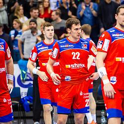 Enttaeuscht: Team des HBW Balingen-Weilstetten / Benjamin Meschke (HBW Balingen-Weilstetten #13) ; Jona Schoch (HBW Balingen-Weilstetten 22) ; Romas Kirveliavicius (HBW Balingen-Weilstetten #5) beim Spiel in der Handball Bundesliga, TVB 1898 Stuttgart - HBW Balingen-Weilstetten.<br /> <br /> Foto © PIX-Sportfotos *** Foto ist honorarpflichtig! *** Auf Anfrage in hoeherer Qualitaet/Aufloesung. Belegexemplar erbeten. Veroeffentlichung ausschliesslich fuer journalistisch-publizistische Zwecke. For editorial use only.