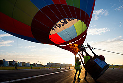 Balloonists prepare their balloon to take part in the 2017 RICOH Lord MayorÕs Hot Air Balloon Regatta, which feature over 30 balloons launching a flight over London from London City Airport as part of the airportÕs 30th birthday celebrations