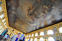 """""""The Triumph of Russia"""" covers the ceiling of the Hall of Light at the Catherine Palace at Tsarskoe Selo (Pushkin) near St. Petersburg, Russia."""