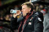 AFC Bournemouth manager Eddie Howe drinking water before the Premier League match between Bournemouth and Arsenal at the Vitality Stadium, Bournemouth, England on 3 January 2017. Photo by Graham Hunt.