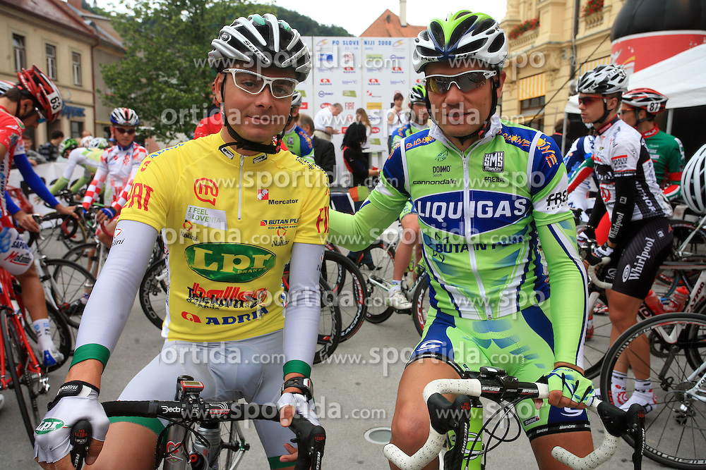 Jure Golcer of Slovenia (LPR Brakes) winner of the 15th Tour de Slovenie and Vladimir Miholjevic of Croatia (Liquigas). Picture was taken at the beginning of 4th stage from Celje to Novo mesto (157 km), on June 14,2008, Slovenia. (Photo by Vid Ponikvar / Sportal Images)/ Sportida)
