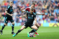 Darren Fletcher of West Bromwich Albion shields the ball from Ashley Barnes of Burnley. Premier League match, Burnley v West Bromwich Albion at Turf Moor in Burnley , Lancs on Saturday 6th May 2017.<br /> pic by Chris Stading, Andrew Orchard sports photography.