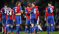 Football - 2017 / 2018 UEFA Champions League - Round of Sixteen, Second Leg: Manchester City (4) vs. FC Basel (0)<br /> <br /> FC Basel players celebrate at The Etihad.<br /> <br /> COLORSPORT
