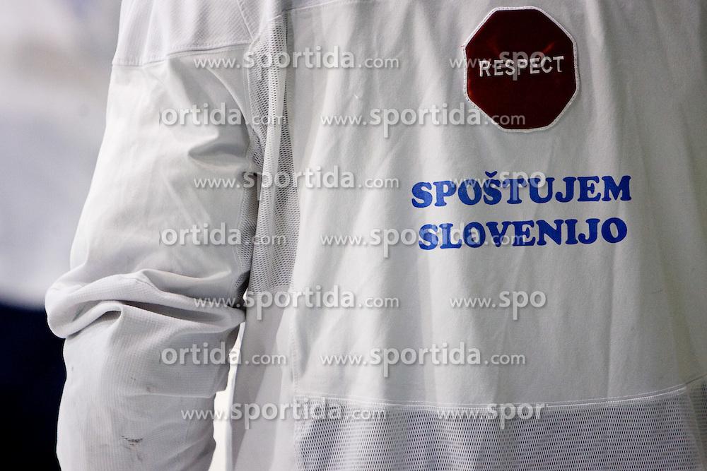 """Respect Slovenia"" at first practice of Slovenian National Ice hockey team before World championship of Division I - group B in Ljubljana, on April 5, 2010, in Hala Tivoli, Ljubljana, Slovenia.  (Photo by Vid Ponikvar / Sportida)"