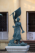 A statue of Liberty outside the museum in Chandannagar, originally the home of Joseph François Dupleix who was appointed governor of the city in 1730. Chandannagar, India