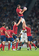 Twickenham, England.  Yoann MAESTRI collect's a clean line out ball, during the QBE International. England vs France [World cup warm up match]  Saturday.  15.08.2015,  [Mandatory Credit. Peter SPURRIER/Intersport Images].
