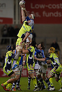 Sale Sharks second-row Bryn Evans competes for a line out with Newport Gwent Dragons second-row Rynard Landman during the first half of the European Challenge Cup rugby match, pool 2, Sale Sharks v Newport Gwent Dragons at the AJ Bell Stadium in Salford , Manchester, Lancs on Thursday 21st January 2016.<br /> pic by Steven Flynn, Andrew Orchard sports photography.