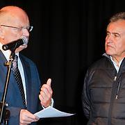NLD/Hilversum/20111115 - Boekpresentatie Zangeres Zonder Naam van Ben Holthuis, Ben Holthuis, Adriaan Hoes