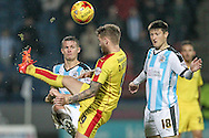 Danny Ward (Rotherham United) kicks the ball over his head to clear the danger during the Sky Bet Championship match between Huddersfield Town and Rotherham United at the John Smiths Stadium, Huddersfield, England on 15 December 2015. Photo by Mark P Doherty.