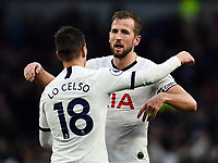 Football - 2019 / 2020 Premier League - Tottenham Hotspur vs. Brighton & Hove Albion<br /> <br /> Tottenham Hotspur's Harry Kane celebrates with Giovani Lo Celso after their 2-1 victory, at The Tottenham Hotspur Stadium.<br /> <br /> COLORSPORT/ASHLEY WESTERN