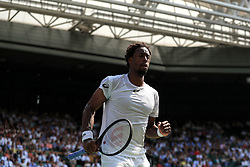 6 July 2017 -  Wimbledon Tennis (Day 4) - Gael Monfils (FRA) runs beneath the roof on Centre Court during his 2nd round match - Photo: Marc Atkins / Offside.