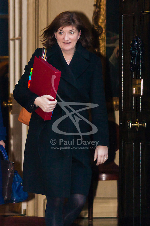 Downing Street, London, January 20th 2015. Ministers leave the weekly cabinet meeting at Downing Street. PICTURED: Nicky Morgan MP, <br /> Secretary of State for Education, Minister for Women and Equalities