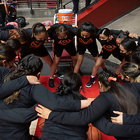 The Gallup Bengals huddle before taking the court against the Espanola Valley Sundevils during the New Mexico Class 4A girls basketball championship game at The Pit in Albuquerque Saturday. The Bengals defeated the Sundevils 63-51 to become New Mexico Class 4A state champions.