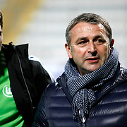 Vfl Wolfsburg's manager Klaus Allofs (R) during their Tuttur.com Cup matchday 1 soccer match Besiktas between Vfl Wolfsburg at Mardan stadium in Istanbul Turkey on Thursday February 23, 2012. Photo by Aykut AKICI/TURKPIX